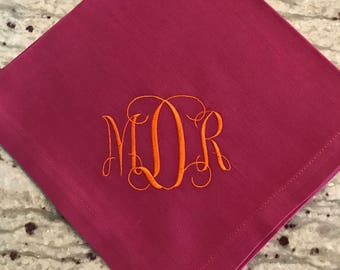 "Set of Six Magenta Cotton Dinner Napkin with ""Grace"" monogram."