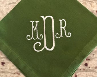 Set of Six Fern Green Cotton Dinner Napkin with Curls Monogram