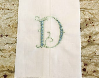 White Linen Hemstitch Guest Towel with Single Initial Monogram