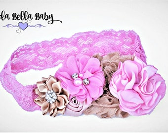 Baby Headband, Newborn Headband, Christening Headband, Girls Headband, Flower Girl Headband, Photo Prop, Pink Headband