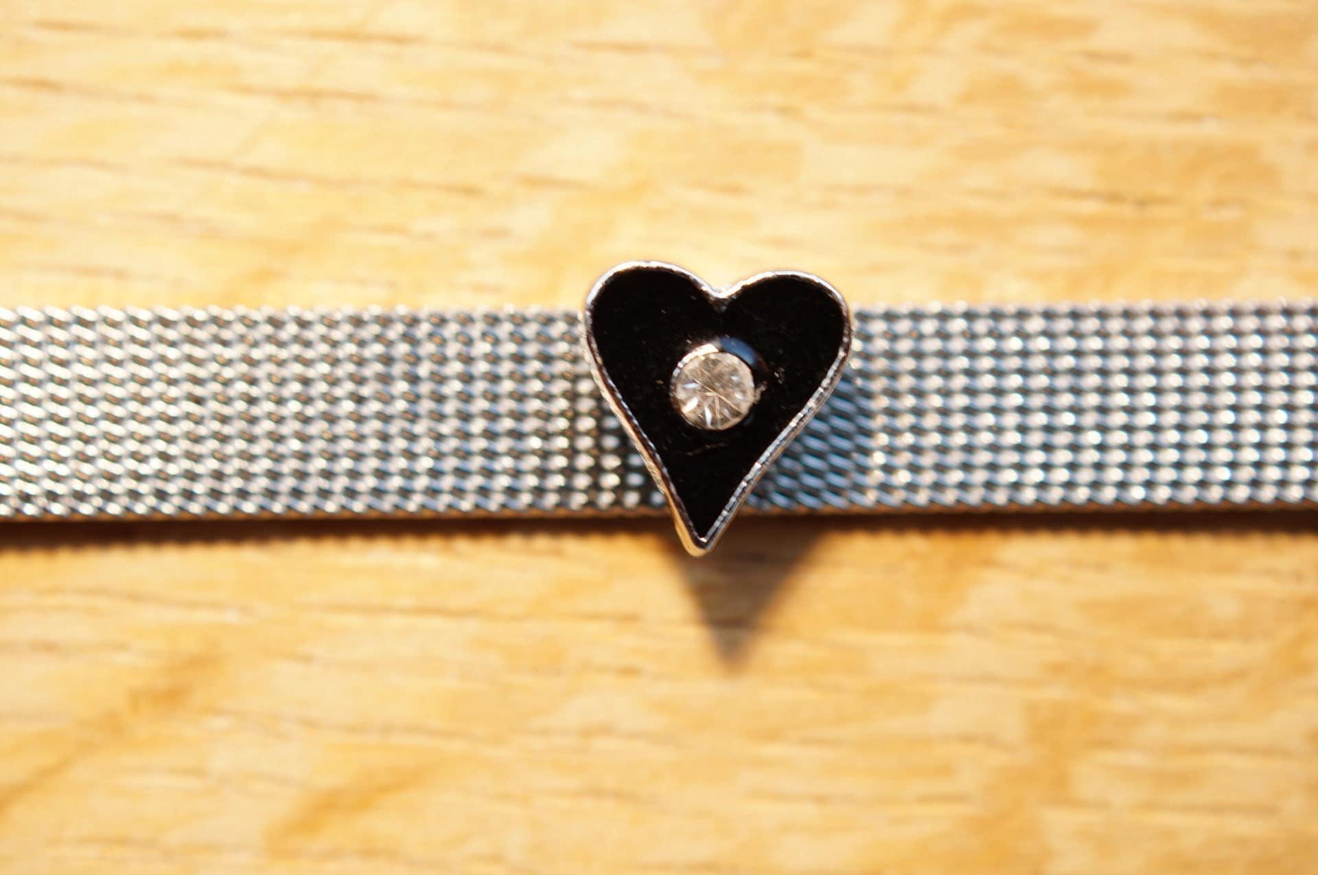 perle coeur passante noir strass pour bracelet. bracelet. bracelet. b4ca0a