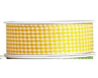 Gingham yellow plaid Ribbon