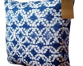 Indigo Batik fabric cushion cover in blue and white. Clarke and Clarke fabric. 16 quot
