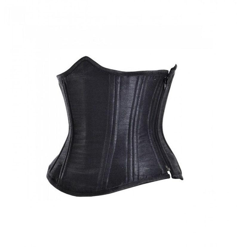 Black Satin Side Opening Zipper Double Bone Waist Cincher Underbust Corset