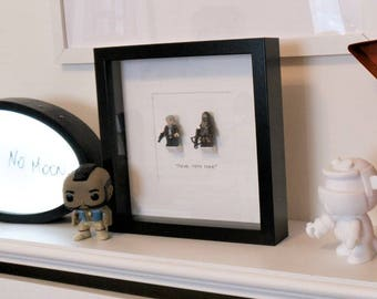 Chewie We're Home//Star Wars//Shadow Box Frame// Minifigure//Han Solo//Chewbacca//Geek Decor//Wall Art//Gift//New Home