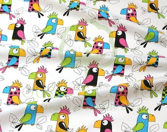 Sale-Colorful PARROTS on WHITE,100% Cotton Printed Fabric,Wide 160 cm,Animal Pattern,White,Sewing,Patchwork, New,Nursery,Craft,PREMIUM,Cheap