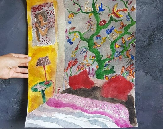Original artist watercolor, in colors live in yellow red plums.  The tree room of life.
