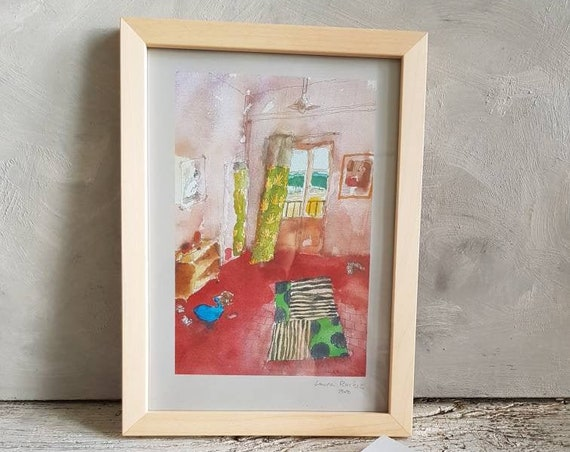 Watercolor reproduction signed by the artist.  Illustration depicting the interior of a house. Artist drawing poster.