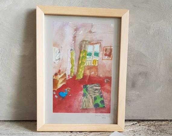 Affiche oeuvre d'art colorée aquarelle de maison signé artiste Française