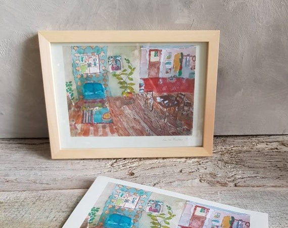 Colorful artwork poster interior drawing of house signed French artist