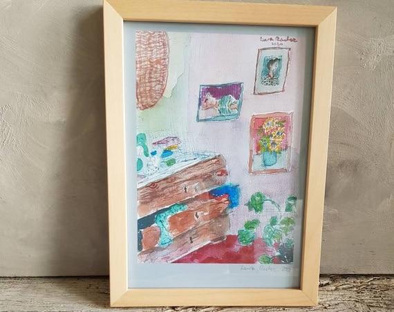 Affiche oeuvre d'art colorée aquarelle dessin de maison