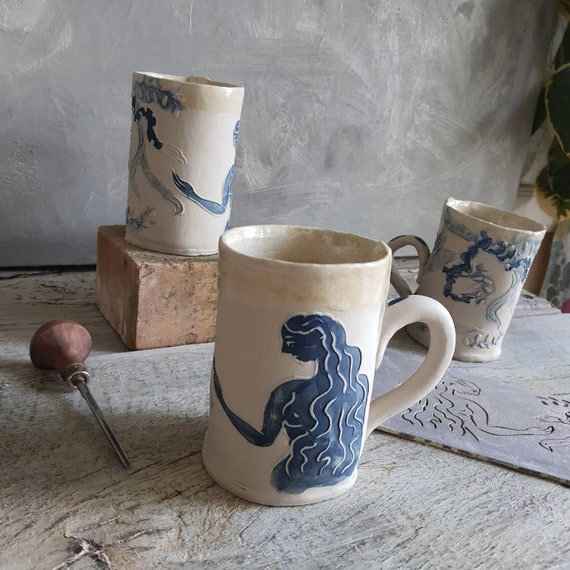 Mug in handmade pottery woman tree foliage snake cup sandstone blue white sacred feminine