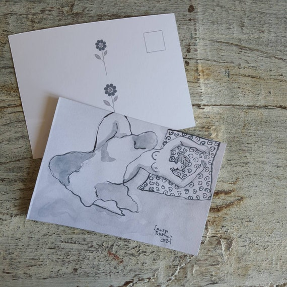 Postcard greeting card illustration artistic nude drawing woman reproduction of one of my drawings of female nude in Indian ink.