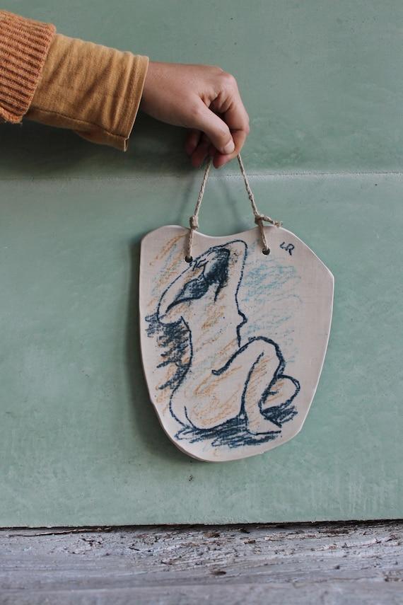 Craft ceramic tray drawing of artist back