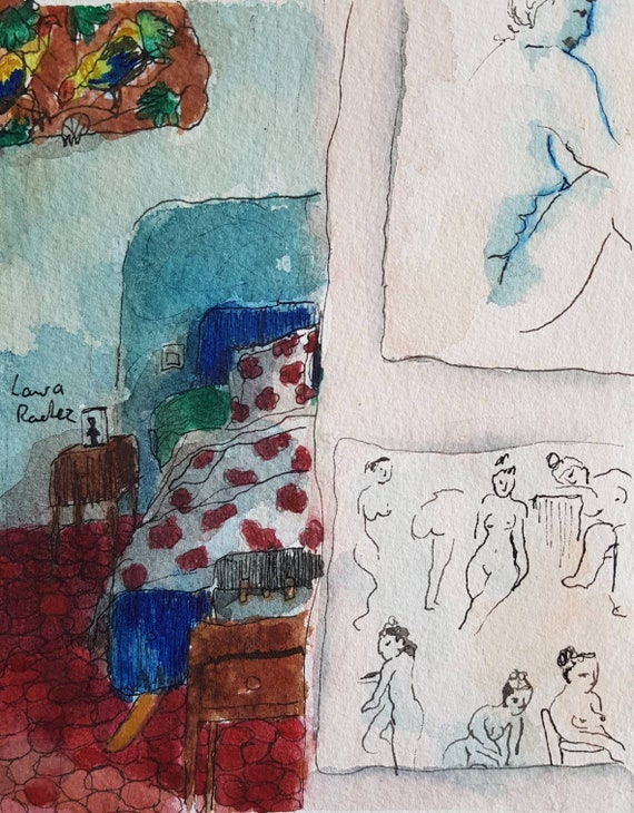 Original artist watercolor, the bedroom and nude drawings hung on the walls.