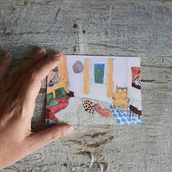Postcard greeting card Christmas card house interior drawing oil painting yellow room art artist