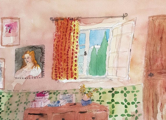 Original watercolor French artist house village window