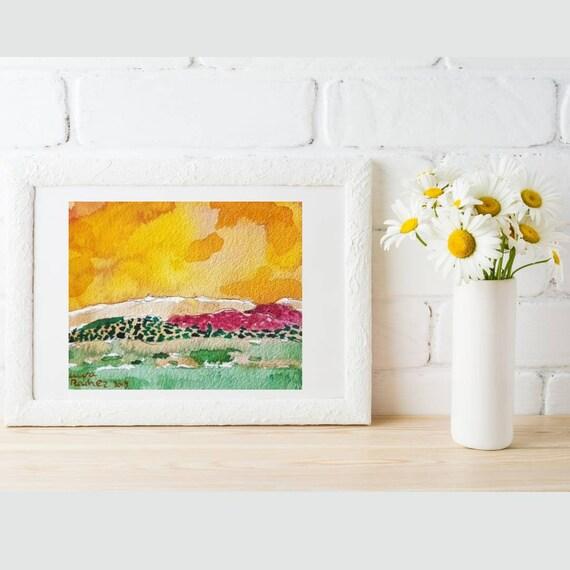Aquarelle originale d'artiste paysage au ciel jaune peinture de montagne au colorée paysage de provence