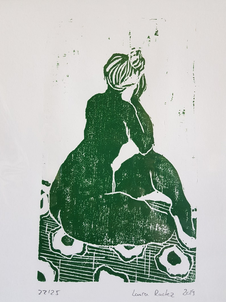 Engraving drawing of woman displays green art linocut woman naked French artist