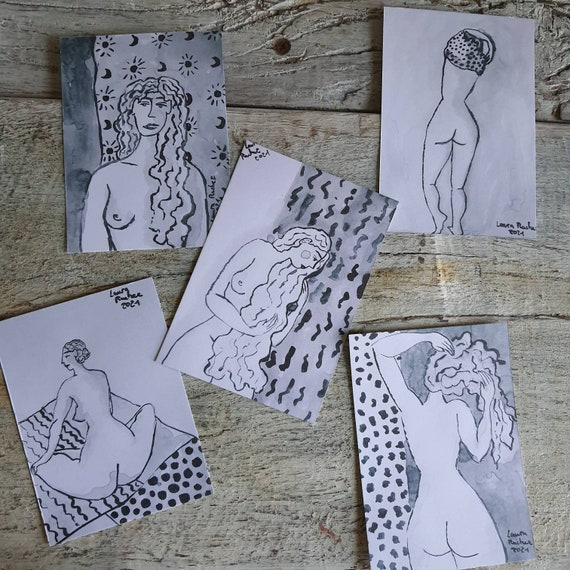 Postcard artistic nude drawing reproduction of my female nude drawing in Indian ink.