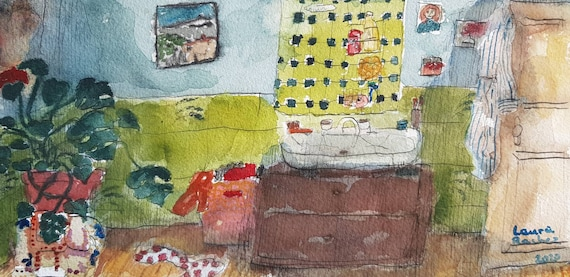 Original artist watercolor, interior. Bathroom.