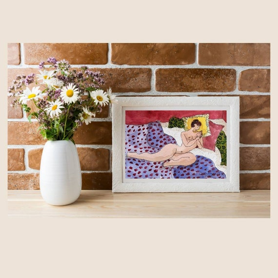 Illustration drawing nude female watercolor French artist original artwork A5 small colorful painting
