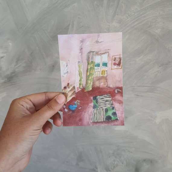 Postcard drawing interior house village reproduction of one of my watercolours