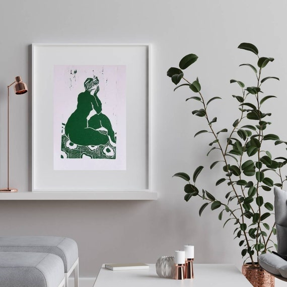 Engraving drawing of woman poster green art linocut French artist