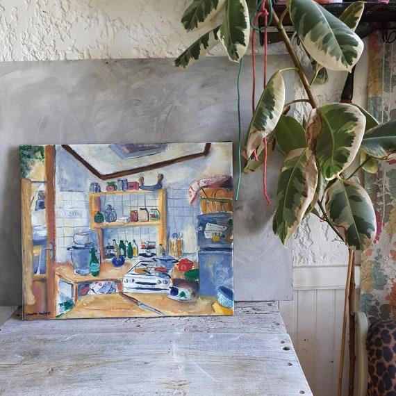 Huile sur toile originale tableau cuusine maison de village gris bleu colorées artiste française