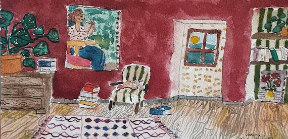 Original artist watercolor, interior. Book window lounge