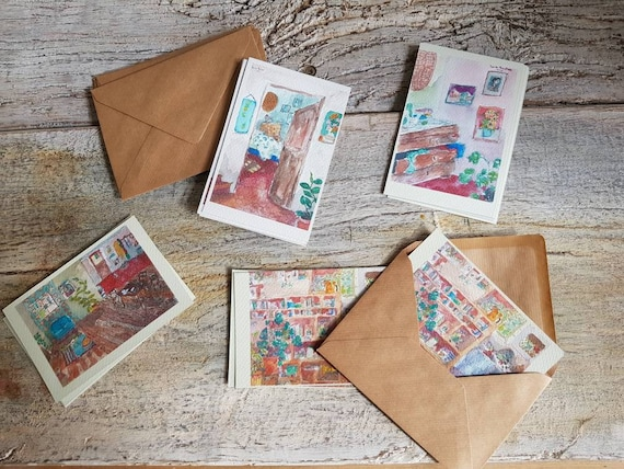 Lot of 4 postcards reproduction of art, I am the author. Lot of 4 postcards with illustration. Drawing on watercolour paper.