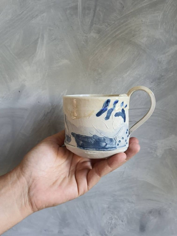 Handcrafted pottery cup drawing white woman and blue cup coffee tea ceramic tea artistic nude