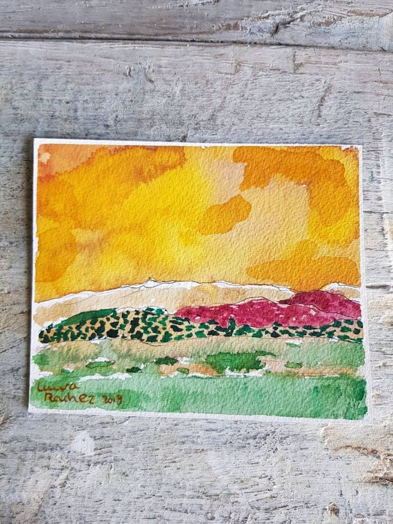 Original artist watercolor, landscape with yellow sky. Mountain painting in colors live.
