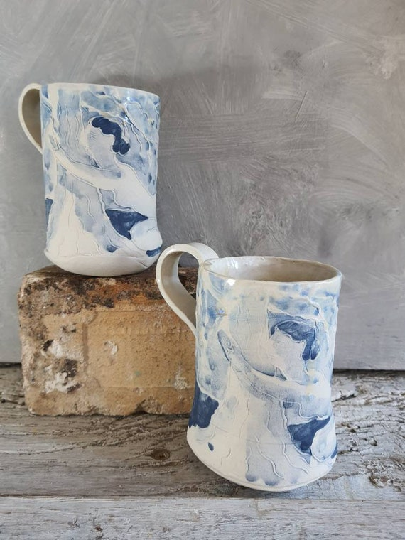 Mug in craft pottery blue and white drawing woman tree cup coffee tea sandstone