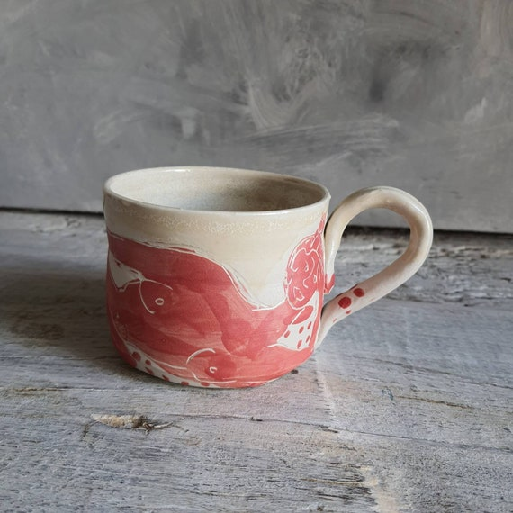 Artisan pottery cup drawing of red woman white cup coffee tea ceramic tea artistic nude