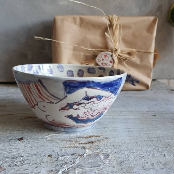 Bol artisanal en poterie dessin de femme art poterie colorée grand bol céramique
