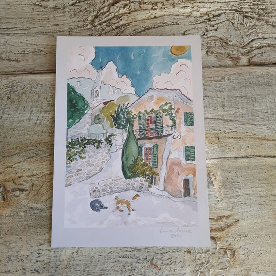 Watercolor poster reproduction illustration village house cat drawing