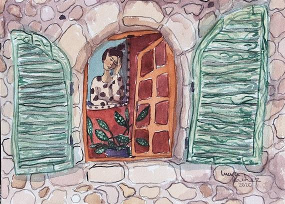 Aquarelle originale d'artiste illustration de fenêtres portrait de femme