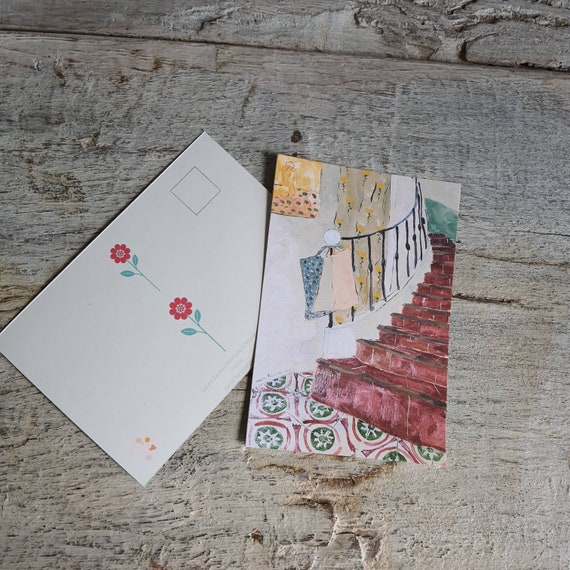 Postcard greeting card Christmas card house interior drawing oil painting red staircase art artist