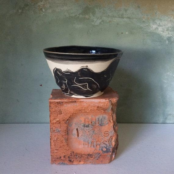 smooth - for tea or coffee stoneware Bowl - handmade - black enamel lead - carved black slip - sleeping figure drawing.