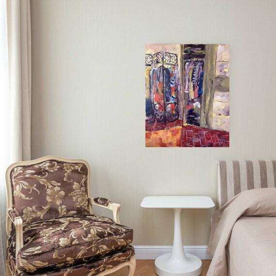Huile sur toile originale tableau  maison de village rouge ocre dressing colorées artiste française