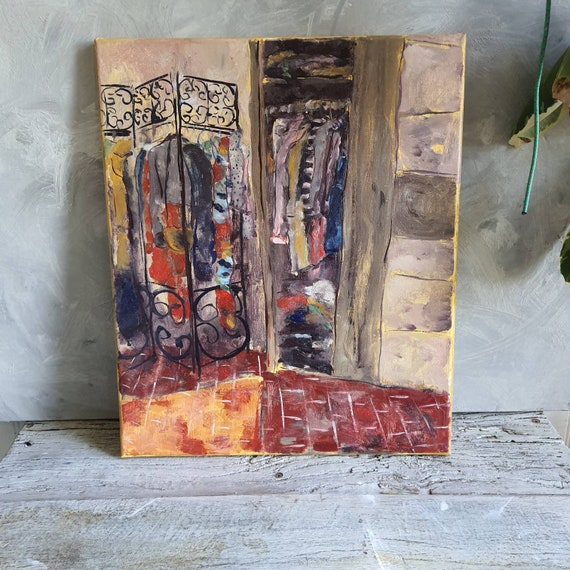 Oil on canvas original house house house red ochre colorful French artist