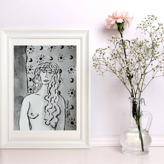 Nude drawing of female nude back moon and sun Indian ink French artist. A4 original artwork poster art