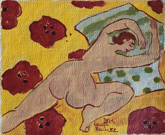 Petite peinture à l'huile original petit tableau dessin femme nu artistique colorées artiste française huile sur toile