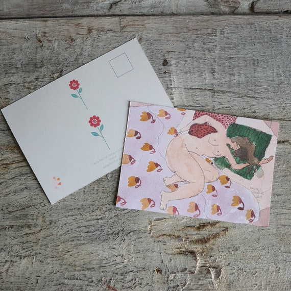 Postcard greeting card Christmas card art drawing nude artistic reproduction of one of my watercolors