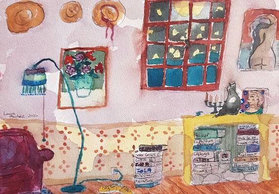Original artist watercolor, interior. Bookroom.