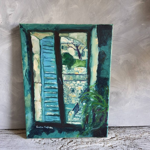 Oil on canvas original window painting colorful green village house French artist