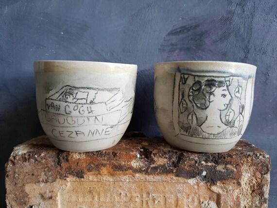 Tasse à café thé poterie artisanale noir et blanc art Gaugin Van Gogh