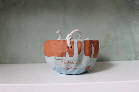 Hand made ceramic planter inside - suspension Terra cotta - red pot - hanging ceramic - pot.
