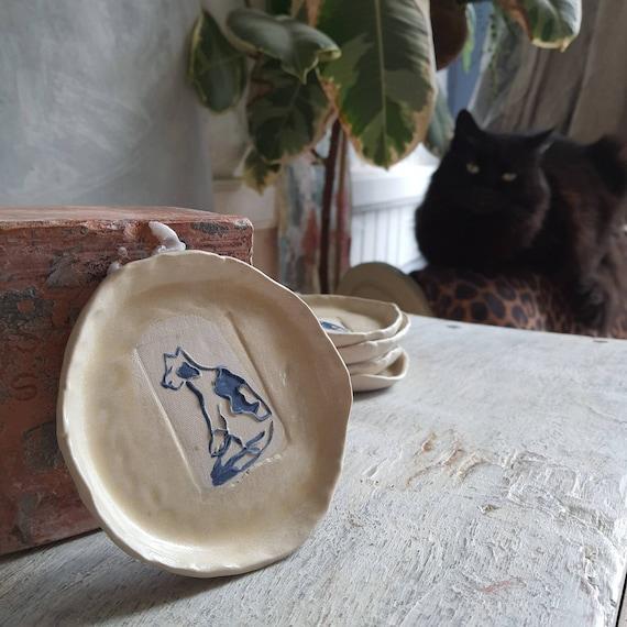 Coupelle poterie artisanale bleu et blanc dessin chat  céramique grès